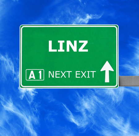 linz: LINZ road sign against clear blue sky