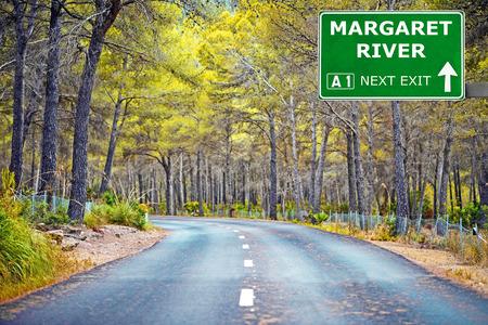 MARGARET RIVER road sign against clear blue sky