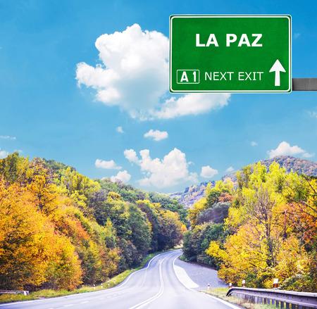 la paz: LA PAZ road sign against clear blue sky