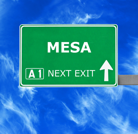 MESA road sign against clear blue sky