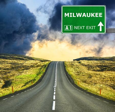 Milwaukee: MILWAUKEE road sign against clear blue sky