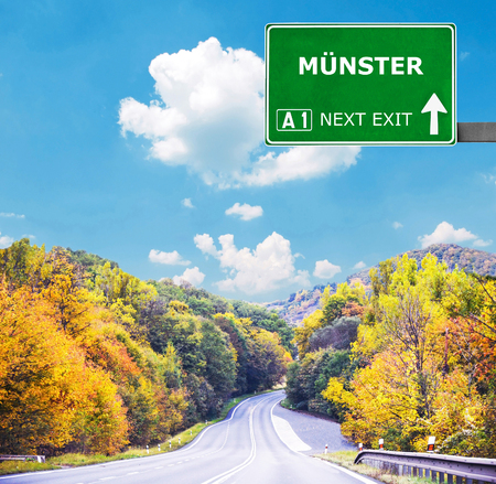 munster: MUNSTER road sign against clear blue sky