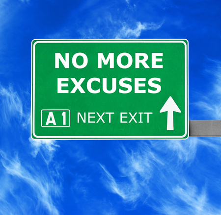 domestic violence: NO MORE EXCUSES road sign against clear blue sky Stock Photo