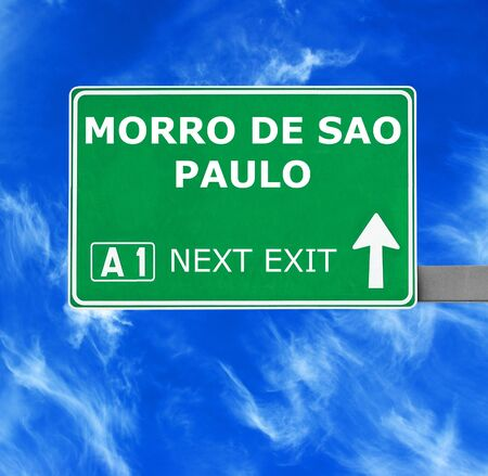 chill out: MORRO DE SAO PAULO road sign against clear blue sky