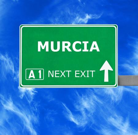 murcia: MURCIA road sign against clear blue sky Stock Photo