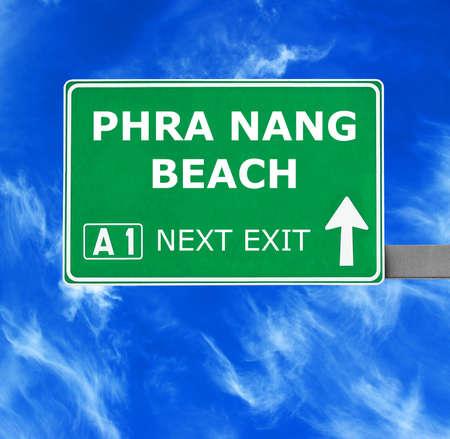 phra nang: PHRA NANG BEACH road sign against clear blue sky Stock Photo