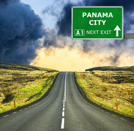 panama city: PANAMA CITY road sign against clear blue sky