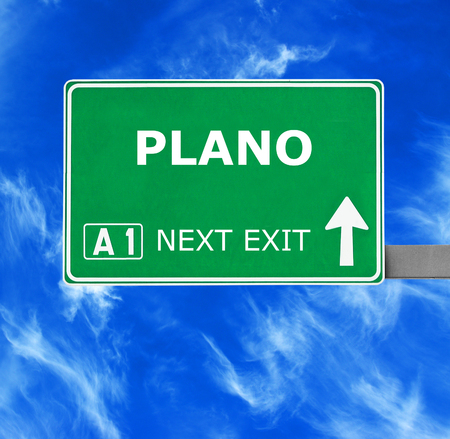 plano: PLANO road sign against clear blue sky