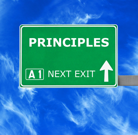fundamentals: PRINCIPLES road sign against clear blue sky