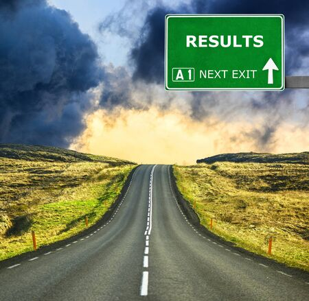 flak: RESULTS road sign against clear blue sky Stock Photo