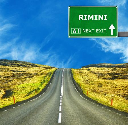 rimini: RIMINI road sign against clear blue sky