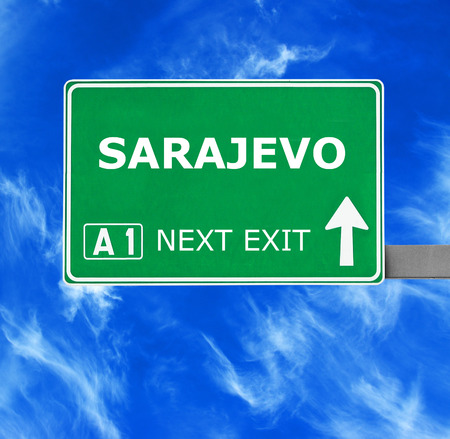 sarajevo: SARAJEVO road sign against clear blue sky Stock Photo