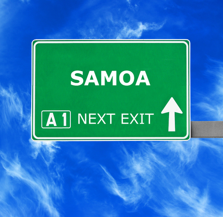 samoa: SAMOA road sign against clear blue sky