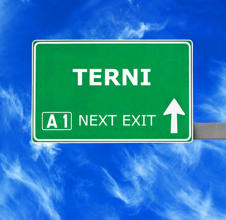 terni day: TERNI road sign against clear blue sky Stock Photo