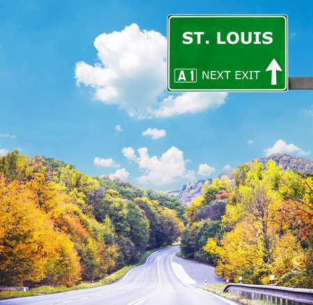 st louis: ST. LOUIS road sign against clear blue sky