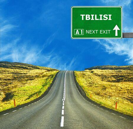 tbilisi: TBILISI road sign against clear blue sky