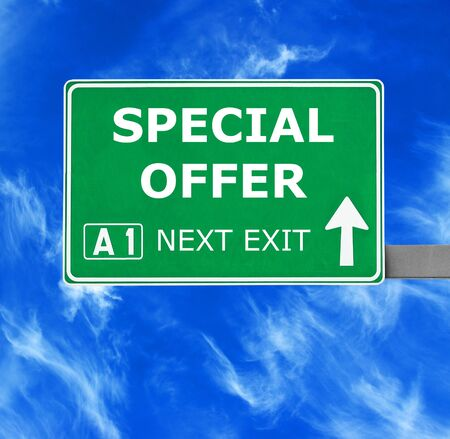 noteworthy: SPECIAL OFFER  road sign against clear blue sky