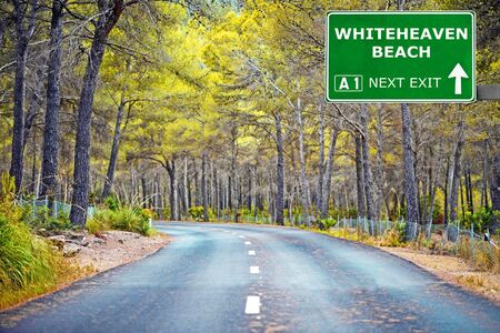 chill out: WHITEHEAVEN BEACH road sign against clear blue sky