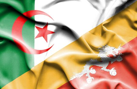 bhutan: Waving flag of Bhutan and Algeria Stock Photo