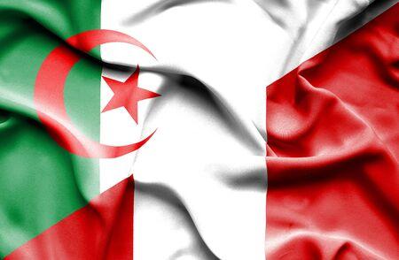 algerian flag: Waving flag of Peru and Algeria