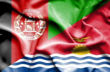 kiribati: Waving flag of Kiribati and Afghanistan