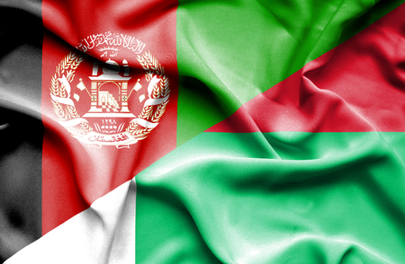 madagascar: Waving flag of Madagascar and Afghanistan