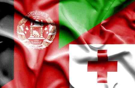 tonga: Waving flag of Tonga and Afghanistan