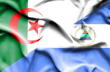 nicaragua: Waving flag of Nicaragua and Algeria Stock Photo