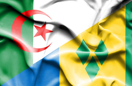 algerian flag: Waving flag of Saint Vincent and Grenadines and Algeria