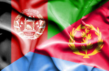 eritrea: Waving flag of Eritrea and Afghanistan