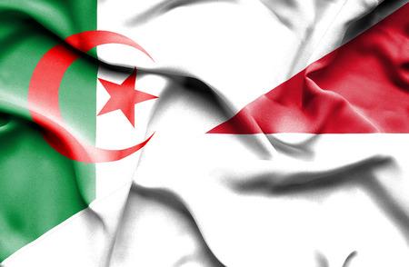 algerian flag: Waving flag of Indonesia and Algeria Stock Photo