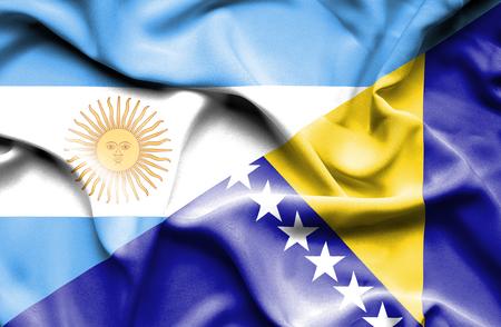 bosnia and herzegovina flag: Waving flag of Bosnia and Herzegovina and