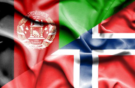 norway flag: Waving flag of Norway and Afghanistan