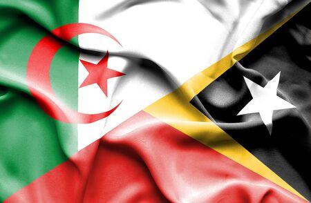 east: Waving flag of East Timor and Algeria