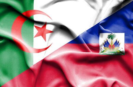 haiti: Waving flag of Haiti and Algeria