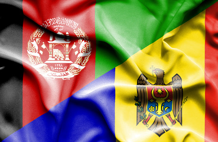 moldavia: Waving flag of Moldavia and Afghanistan Stock Photo
