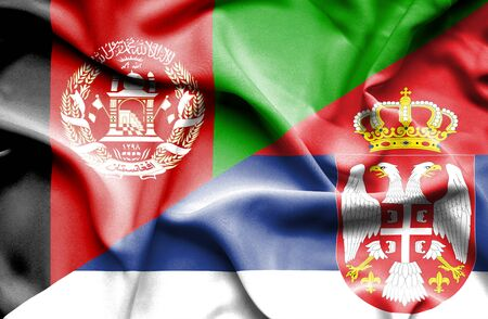 serbia: Waving flag of Serbia and Afghanistan