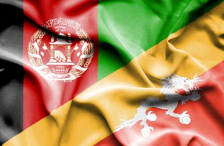 bhutan: Waving flag of Bhutan and Afghanistan Stock Photo