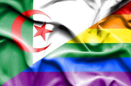 algeria: Waving flag of Pride and Algeria Stock Photo