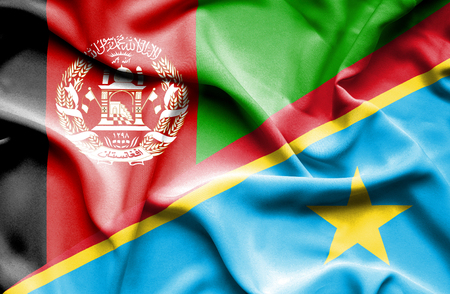democratic: Waving flag of Congo Democratic Republic and Afghanistan