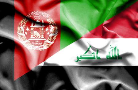 iraq war: Waving flag of Iraq and Afghanistan Stock Photo