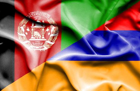 armenia: Waving flag of Armenia and Afghanistan