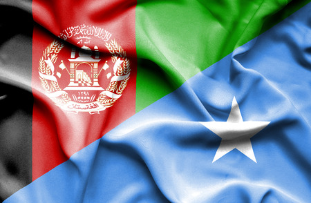 somalian culture: Waving flag of Somalia and Afghanistan Stock Photo