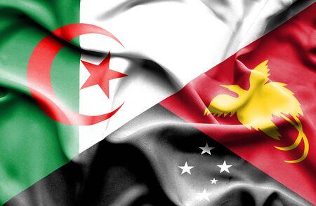 algerian flag: Waving flag of Papua New Guinea and Algeria