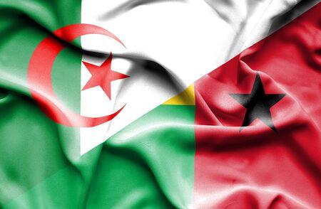 guinea bissau: Waving flag of Guinea Bissau and Algeria