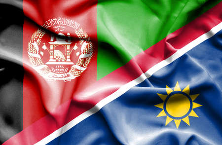 namibia: Waving flag of Namibia and Afghanistan Stock Photo