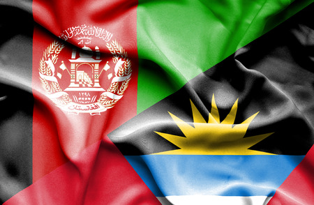antigua: Waving flag of Antigua and Barbuda and Afghanistan Stock Photo