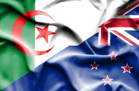 algeria: Waving flag of New Zealand and Algeria