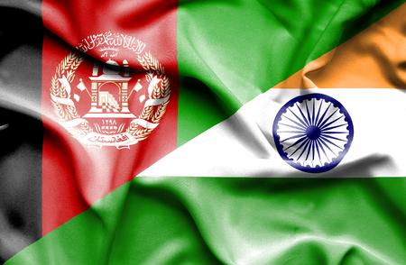 bandera de la india: Ondeando la bandera de la India y Afganistán