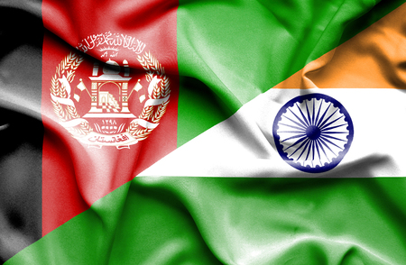 Waving flag of India and Afghanistan Stock Photo